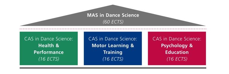 Übersicht über den Aufbau des MAS Dance Science Studiengangs